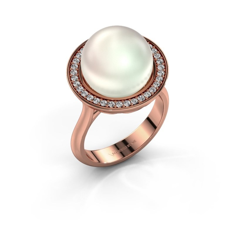Ring Grisel 375 rosé goud witte parel 12 mm