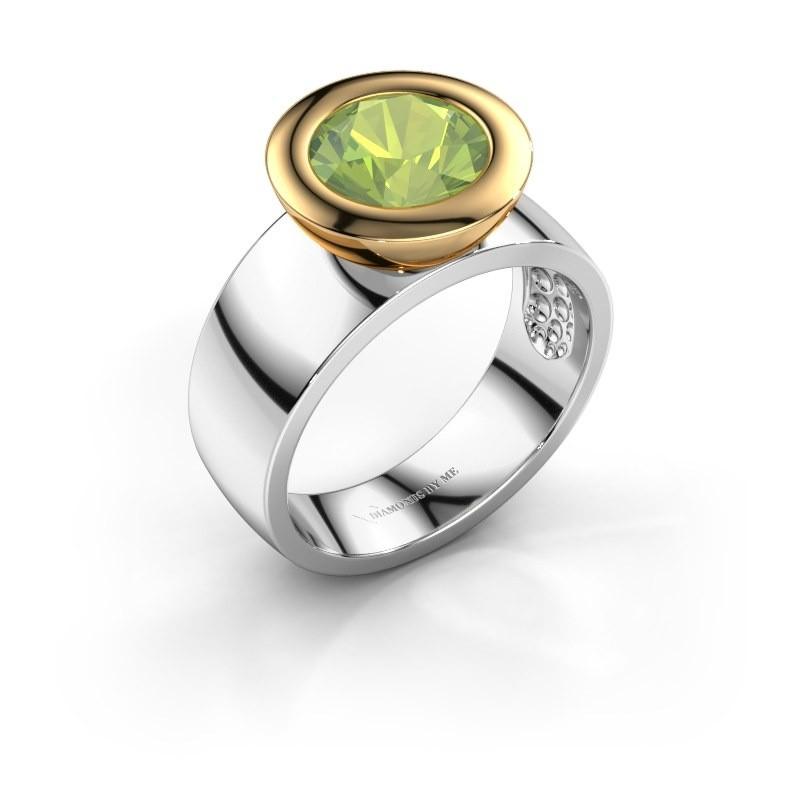 Ring Maxime 585 witgoud peridoot 8 mm