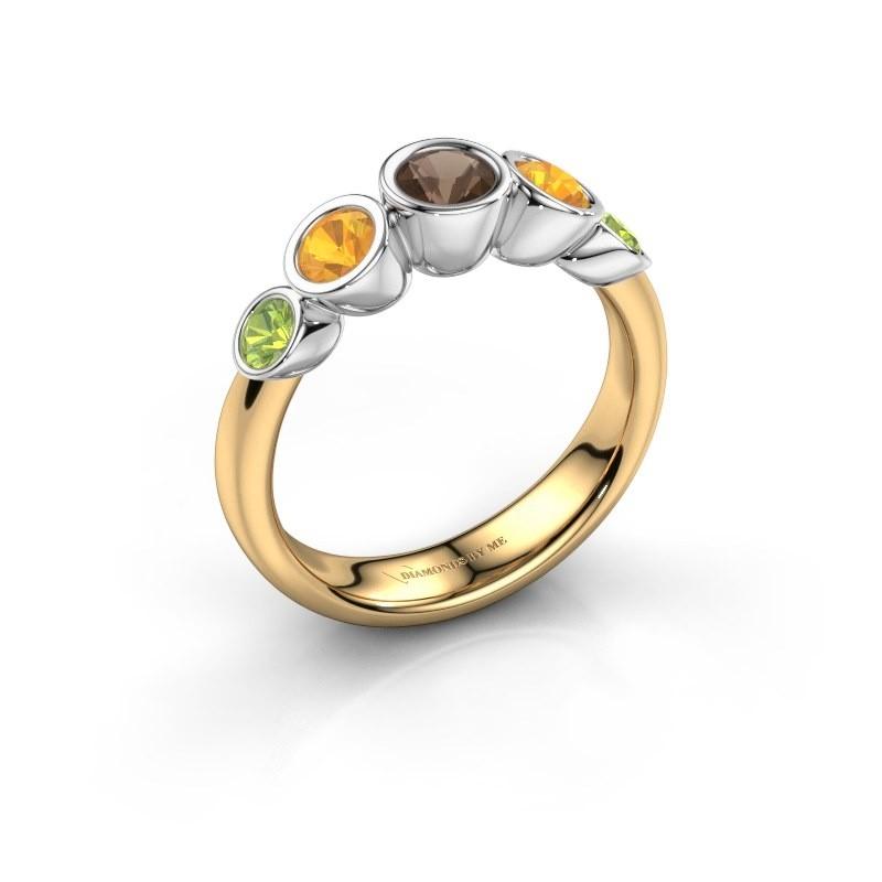 Ring Lizz 585 gold smokey quartz 4 mm