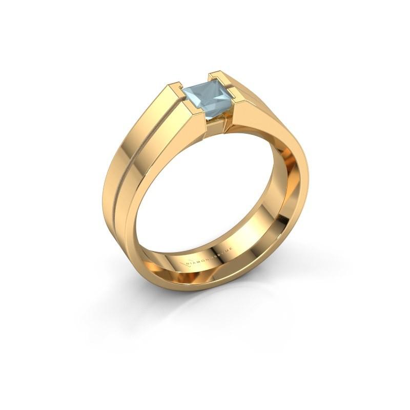 Heren ring Stefan 585 goud aquamarijn 4.5 mm