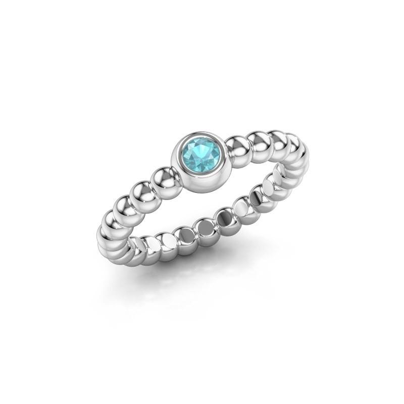 Stackable ring Dini 950 platinum blue topaz 3 mm