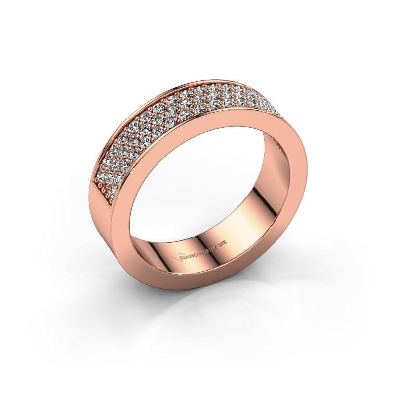 Ring Lindsey 4 375 rose gold zirconia 1.3 mm