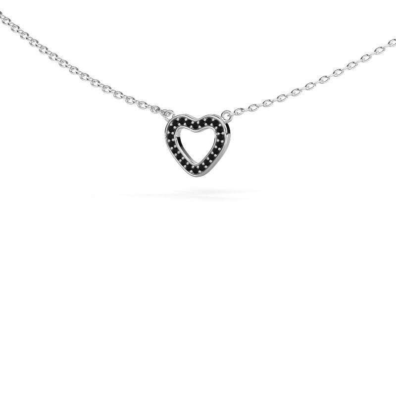 Hanger Heart 4 585 witgoud zwarte diamant 0.066 crt