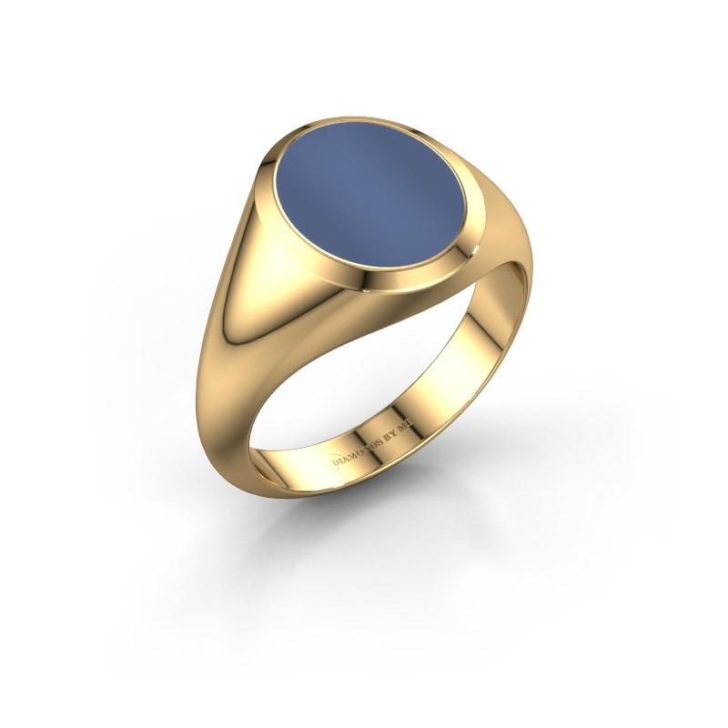 Zegelring Evon 2 585 goud blauw lagensteen 12x10 mm