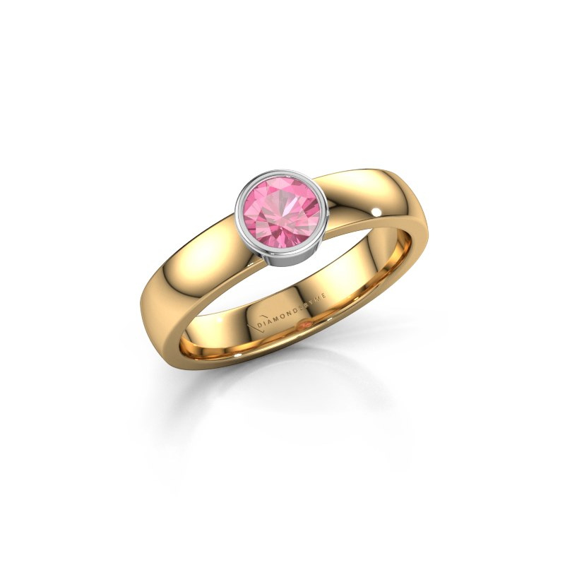 Ring Ise 1 585 goud roze saffier 4.7 mm