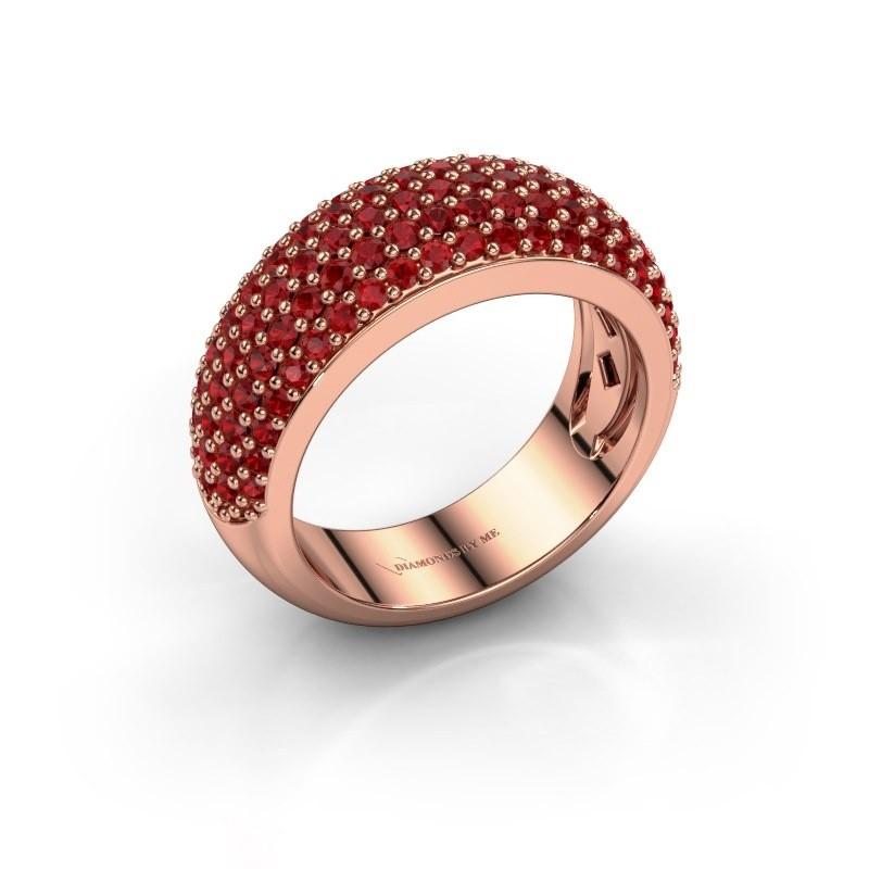 Ring Cristy 375 rosé goud robijn 1.2 mm