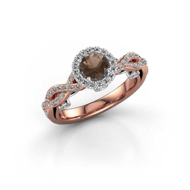 Verlovingsring Madeleine 585 rosé goud rookkwarts 5 mm