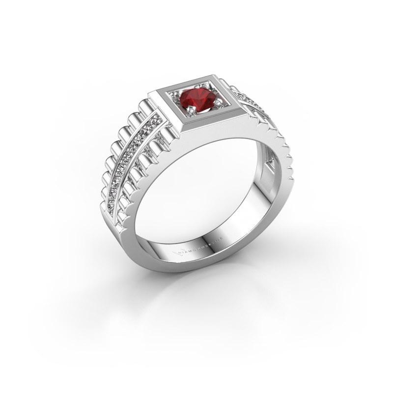 Men's ring Maikel 585 white gold ruby 4.2 mm