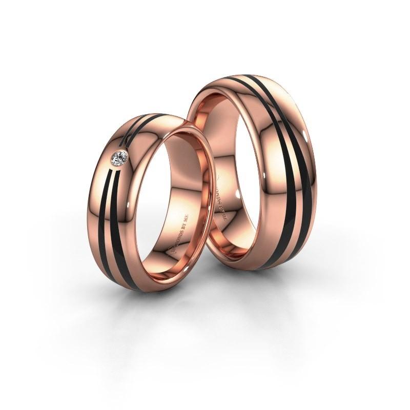 Huwelijksringen set WH2226LM36BP ±6x2 mm 14 karaat rosé goud zwarte emaille 1 mm