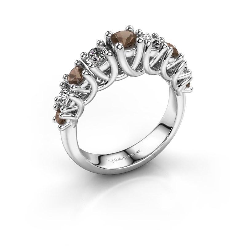 Engagement ring Fatima 925 silver smokey quartz 3.7 mm