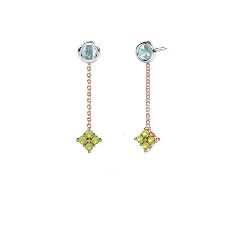 Drop earrings Ardith 585 rose gold peridot 2 mm