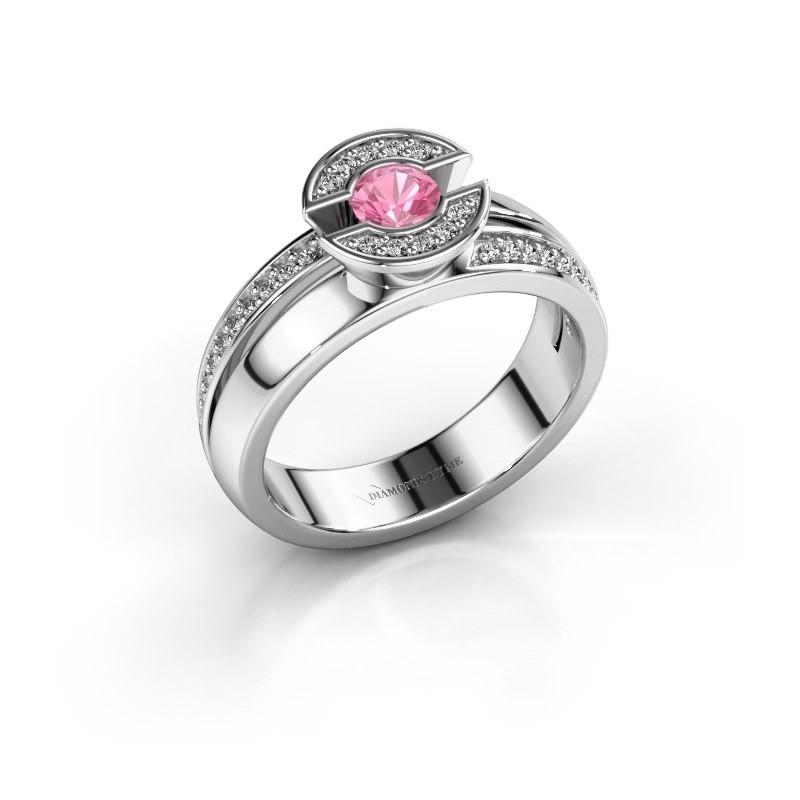 Ring Jeanet 2 925 zilver roze saffier 4 mm