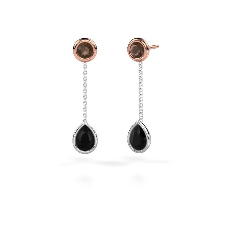 Drop earrings Ladawn 585 white gold black diamond 0.78 crt