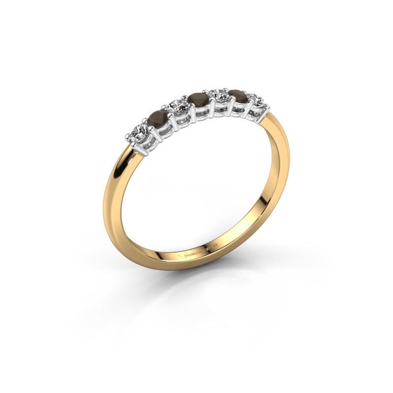 Engagement ring Michelle 7 585 gold smokey quartz 2 mm