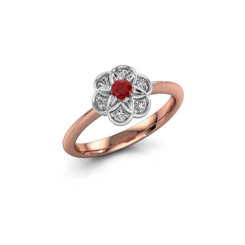 Verlovingsring Uma 585 rosé goud robijn 3 mm
