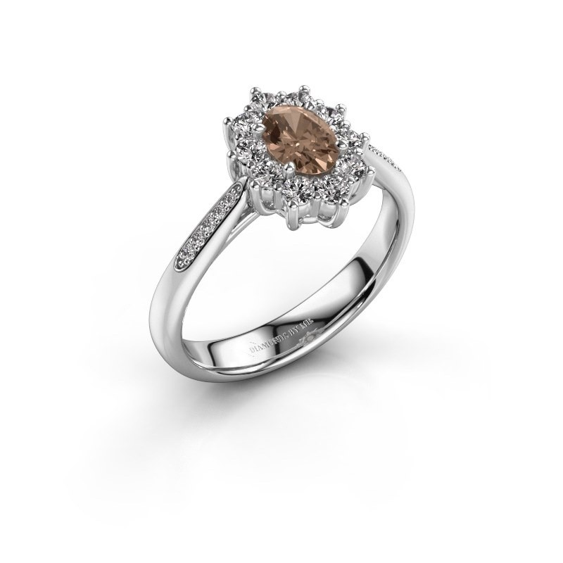 Verlovingsring Leesa 2 925 zilver bruine diamant 0.50 crt