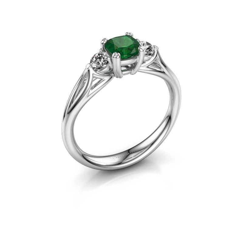Verlovingsring Amie cus 585 witgoud smaragd 5 mm