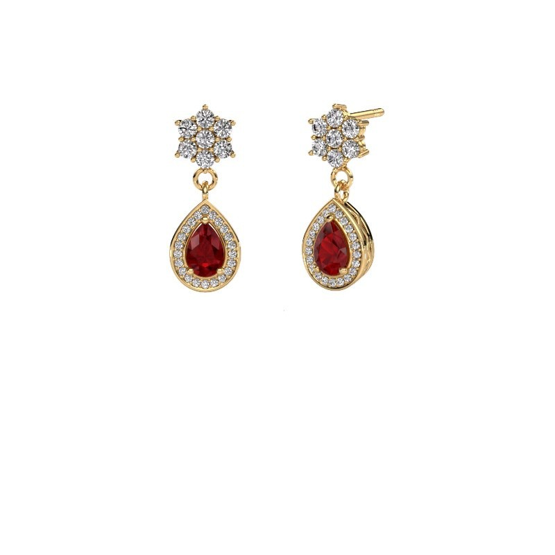 Drop earrings Era 375 gold ruby 6x4 mm