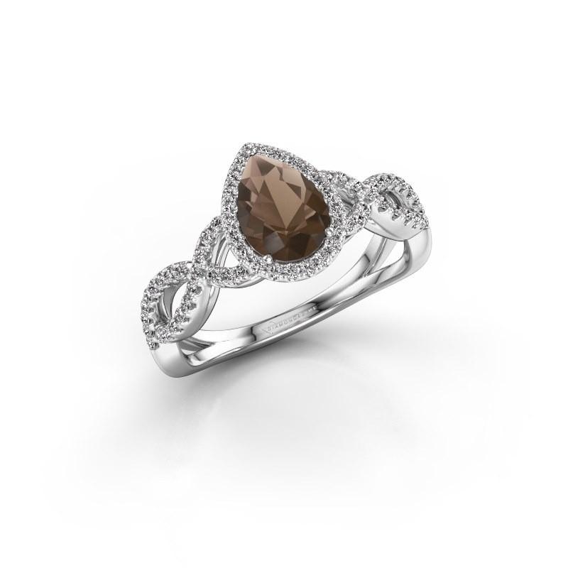 Engagement ring Dionne pear 950 platinum smokey quartz 7x5 mm
