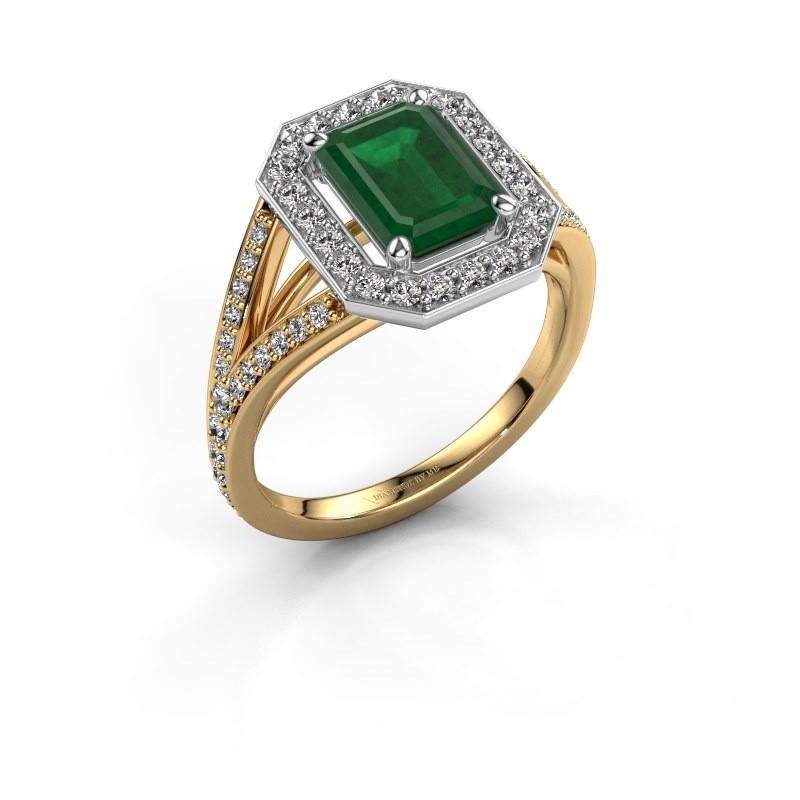 Promise ring Angelita EME 585 gold emerald 8x6 mm