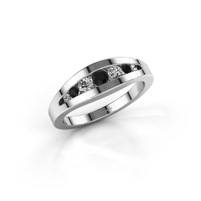Ring Oneida 925 zilver zwarte diamant 0.398 crt
