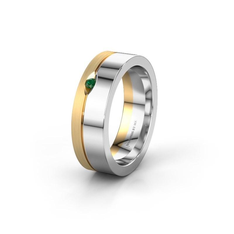 Wedding ring WH0329L16B 585 white gold emerald ±6x2 mm