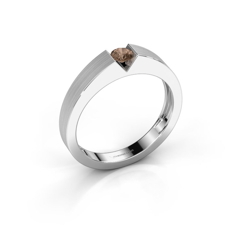 Verlovingsring Lizzy 1 585 witgoud bruine diamant 0.20 crt