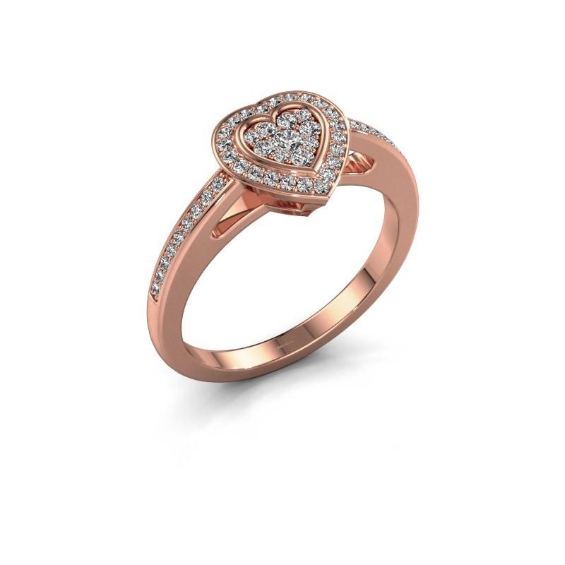 Verlovingsring Emmy 375 rosé goud diamant 0.314 crt