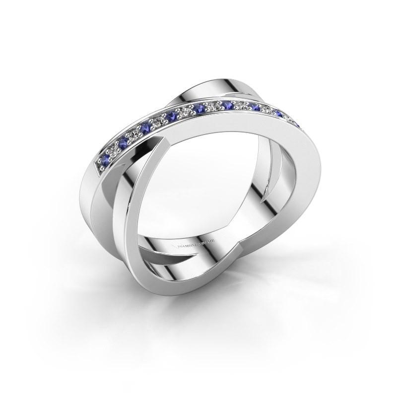 Ring Julie 585 witgoud saffier 1.2 mm