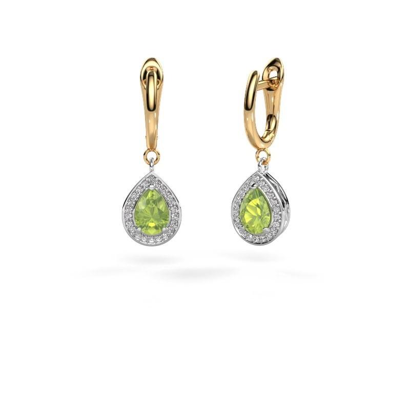 Drop earrings Ginger 1 585 white gold peridot 7x5 mm