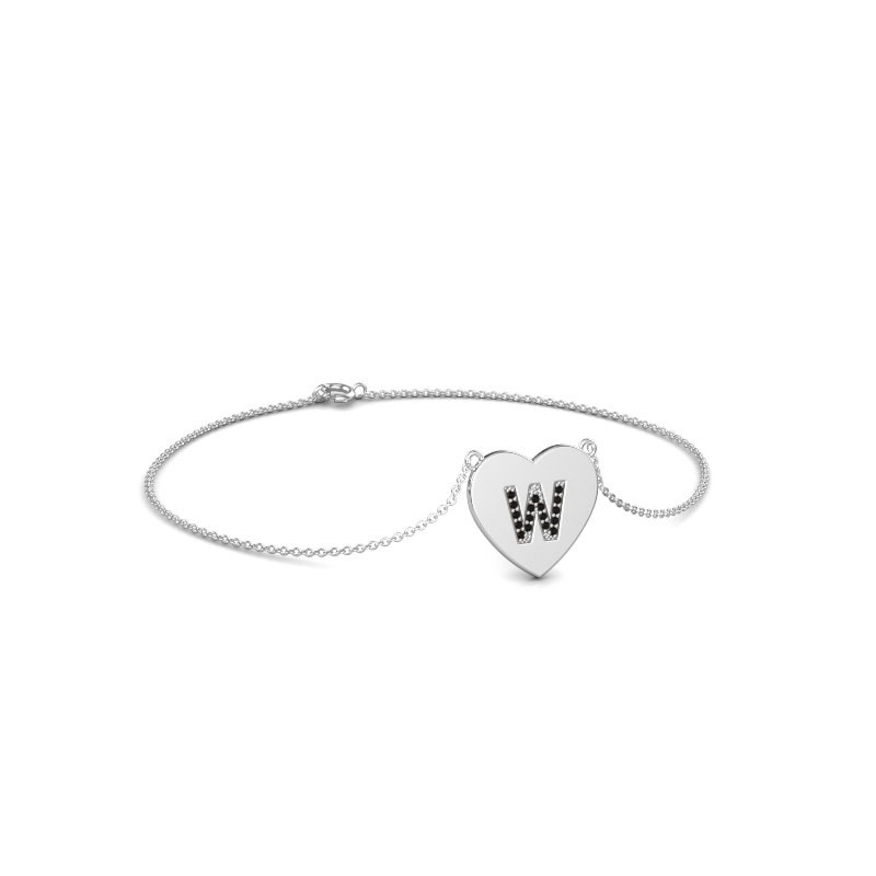 Armband Initial Heart 375 witgoud zwarte diamant 0.084 crt