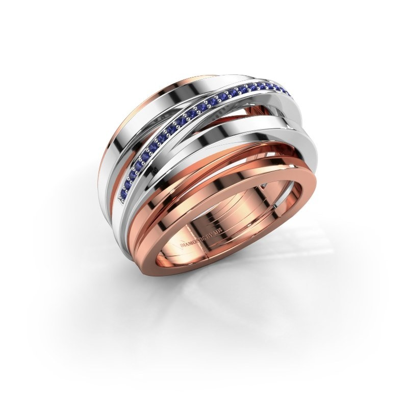 Ring Swinda 585 rosé goud saffier 1 mm