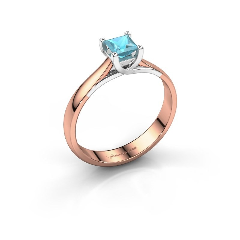 Engagement ring Mia Square 585 rose gold blue topaz 4 mm