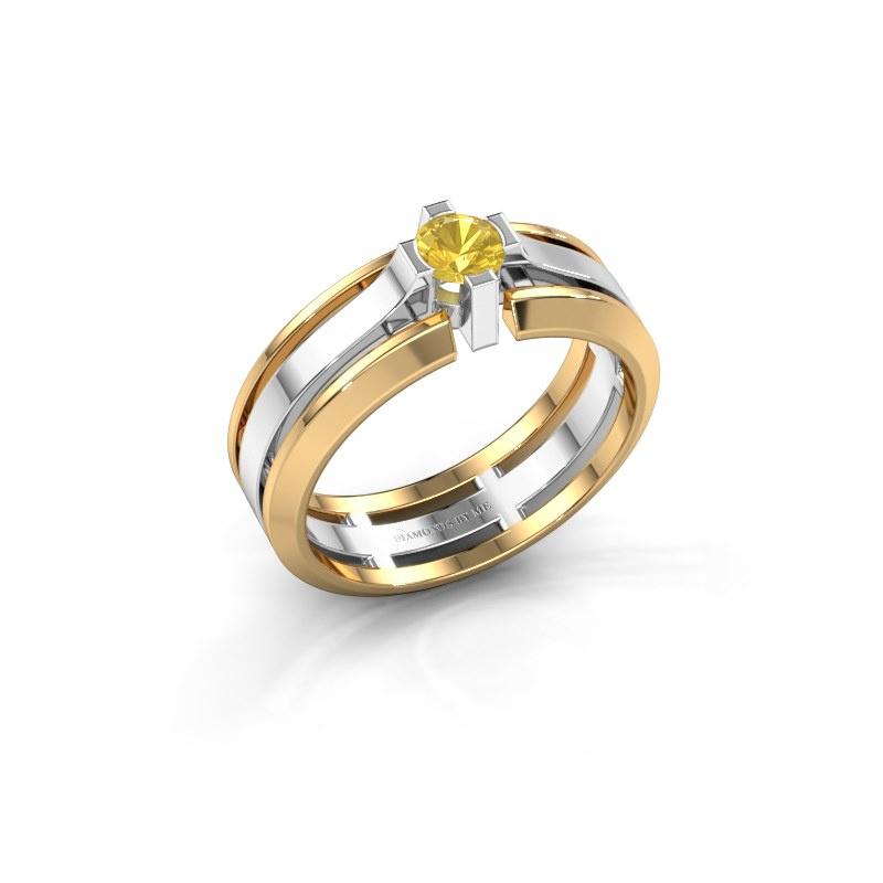 Herrenring Sem 585 Weißgold Gelb Saphir 4.7 mm