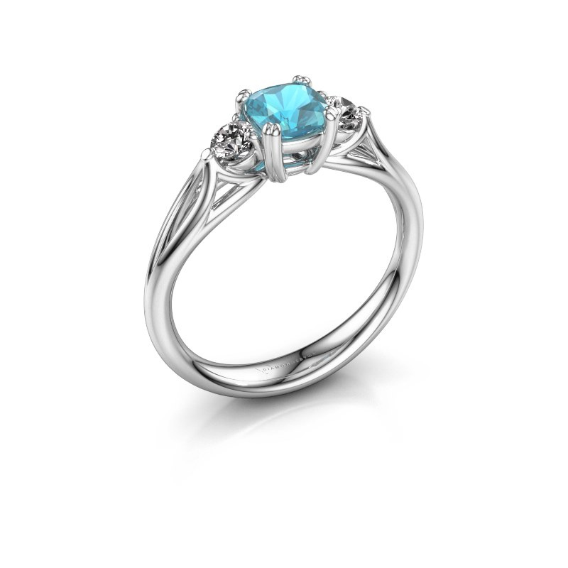 Verlovingsring Amie cus 925 zilver blauw topaas 5 mm