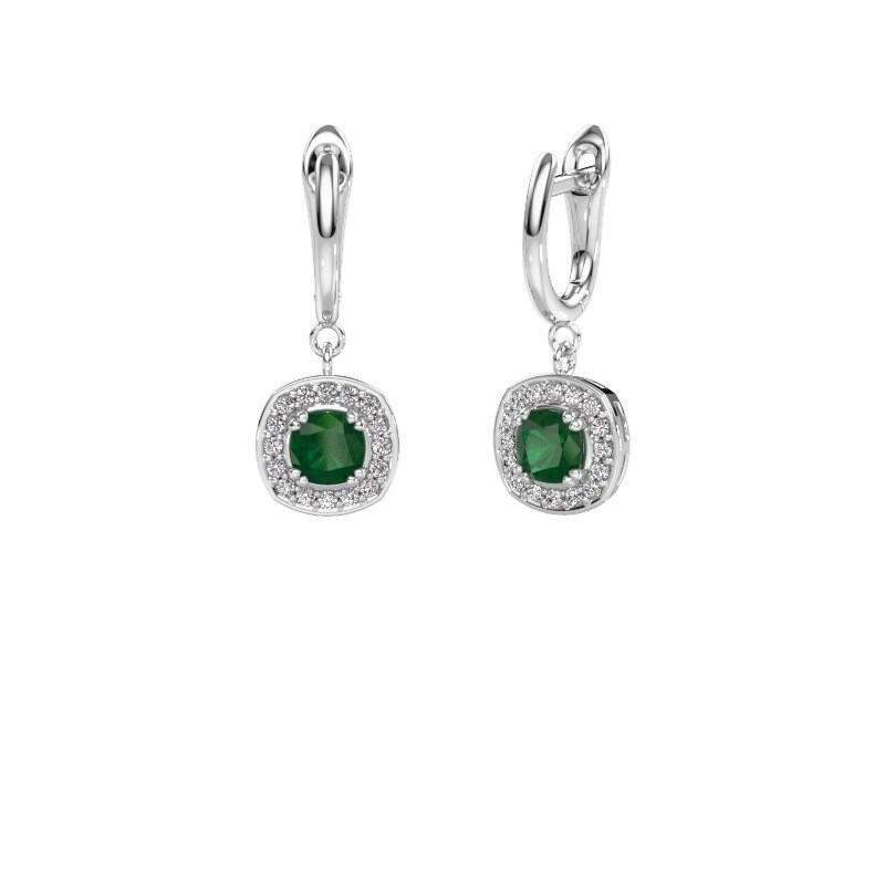 Drop earrings Marlotte 1 950 platinum emerald 5 mm