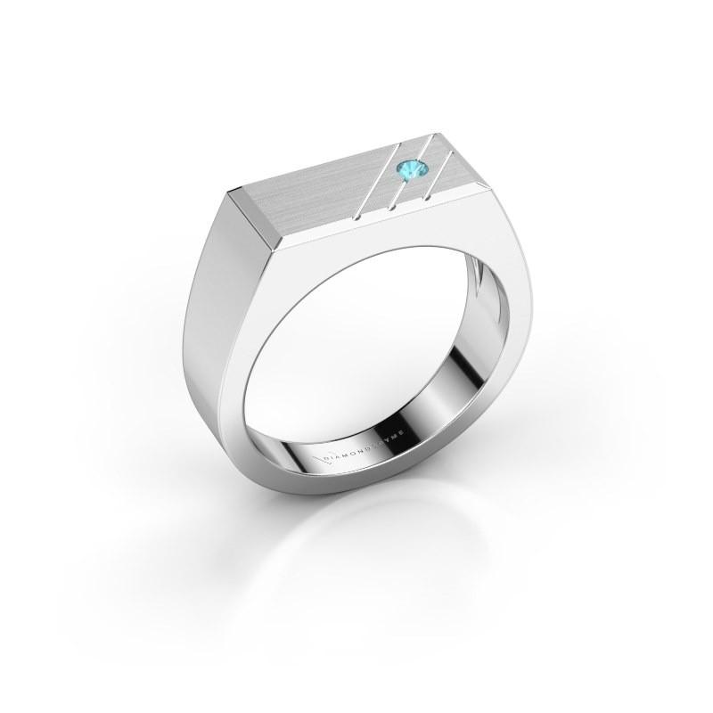 Men's ring Dree 5 950 platinum blue topaz 2.4 mm