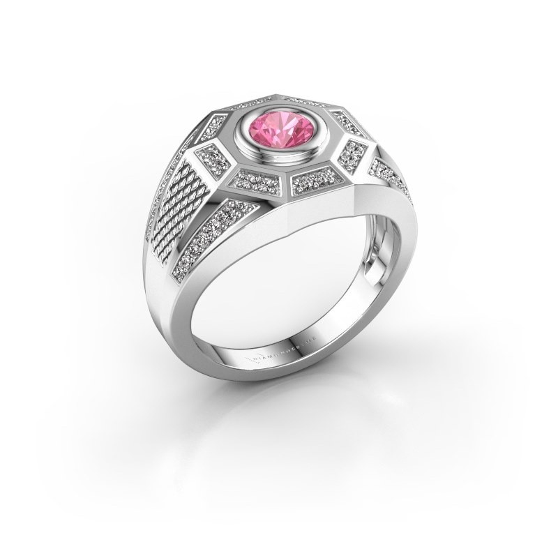 Heren ring Enzo 375 witgoud roze saffier 5 mm