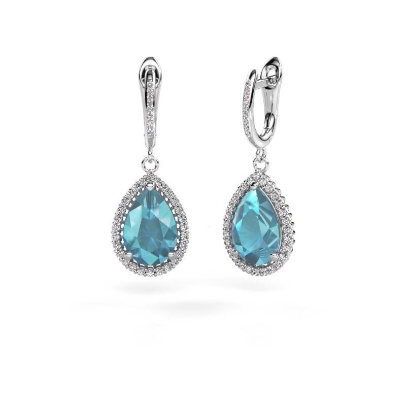 Drop earrings Hana 2 585 white gold blue topaz 12x8 mm