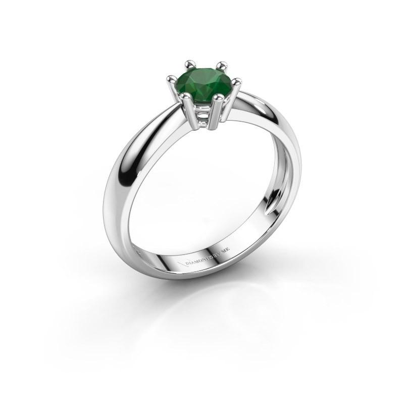 Verlovingsring Fay 585 witgoud smaragd 5 mm