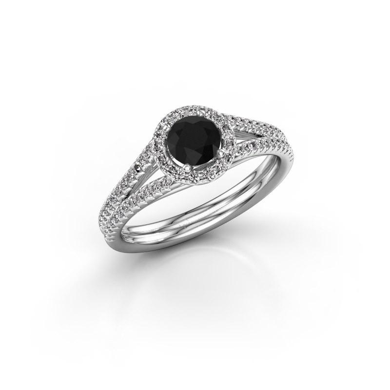 Verlovingsring Verla 2 585 witgoud zwarte diamant 0.825 crt