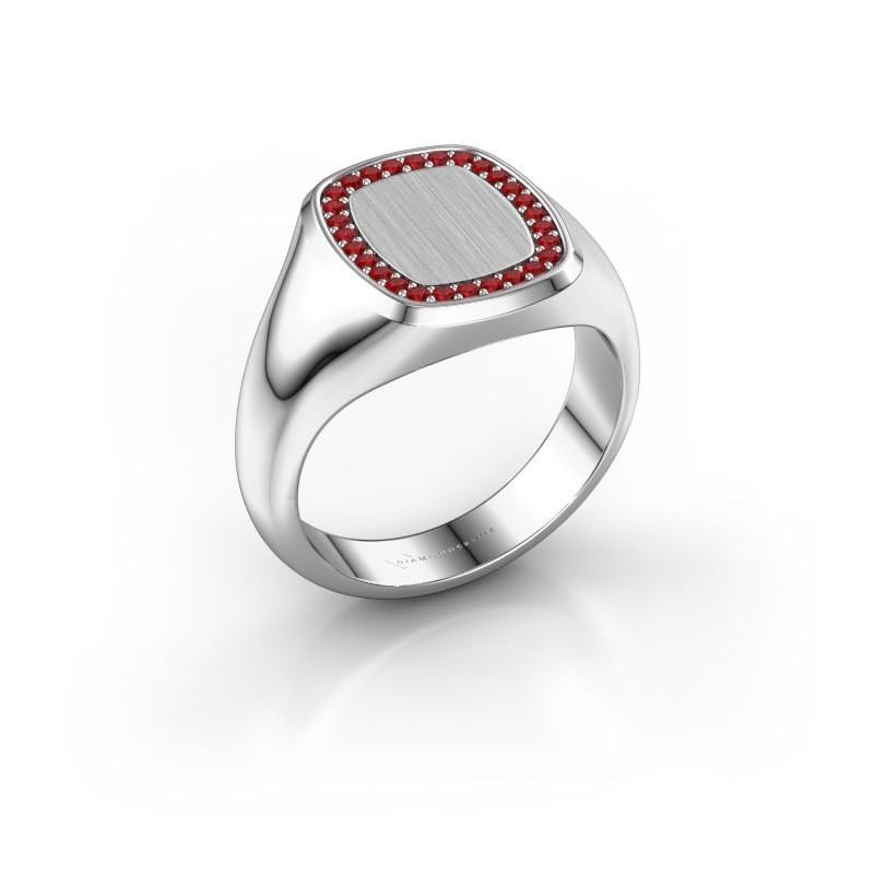 Heren ring Floris Cushion 2 925 zilver robijn 1.2 mm