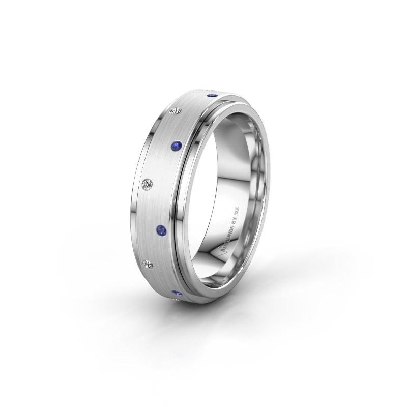 Trouwring WH2134L 925 zilver saffier ±6x2.2 mm