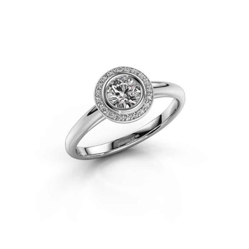 Promise ring Noud 1 RND 585 witgoud zirkonia 4.7 mm