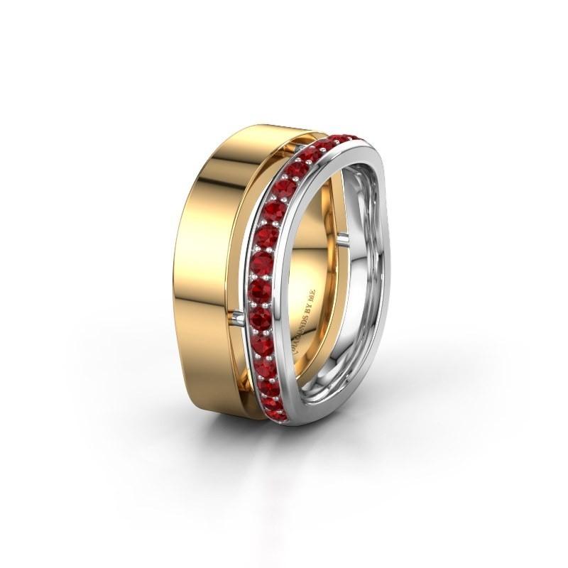 Weddings ring WH6008L18BP 585 gold ruby ±10x2 mm