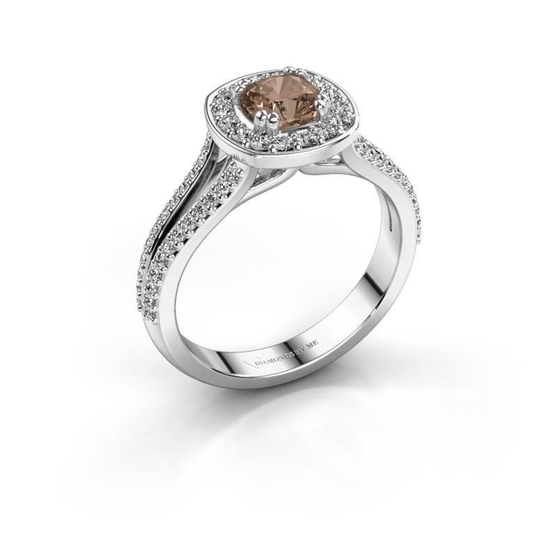 Engagement ring Carolina 2 950 platinum brown diamond 0.90 crt