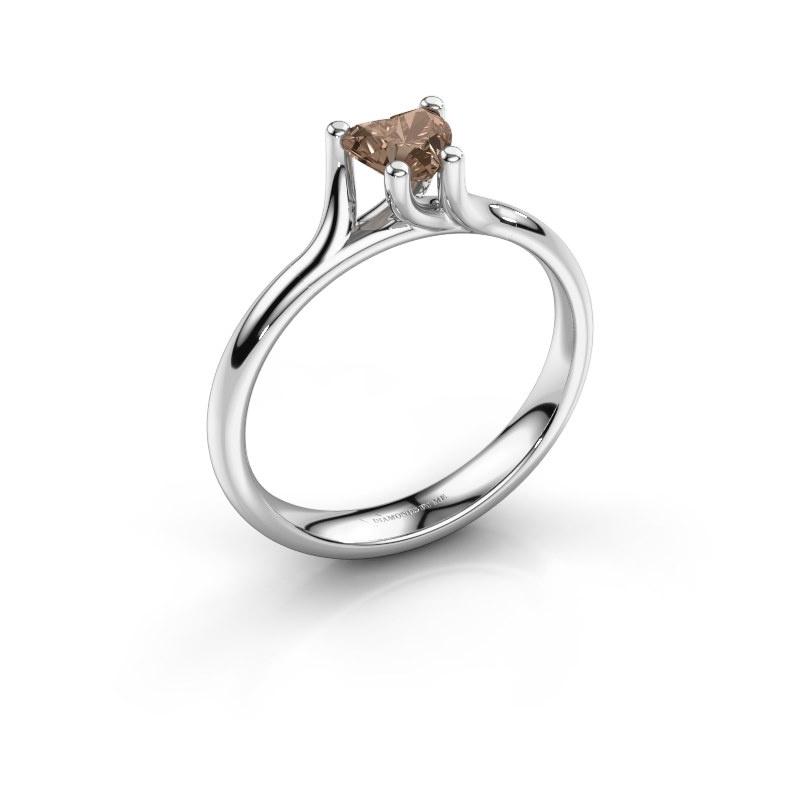 Engagement ring Dewi Heart 950 platinum brown diamond 0.50 crt
