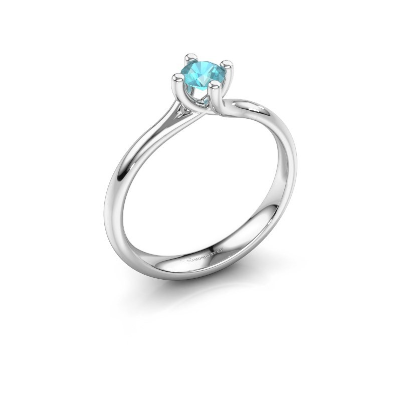 Engagement ring Dewi Round 950 platinum blue topaz 4 mm