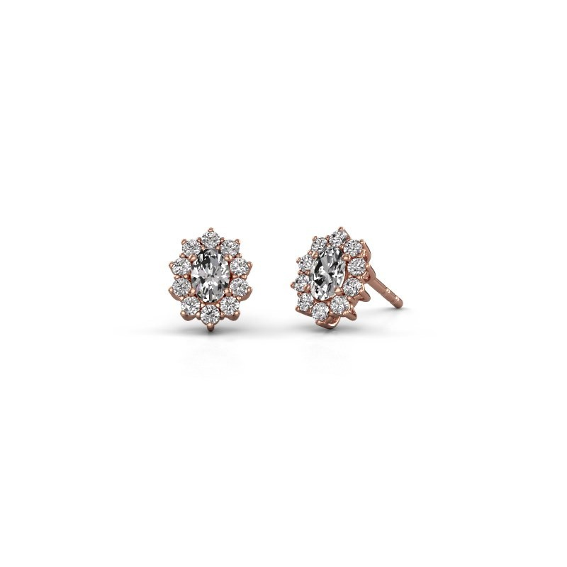 Earrings Leesa 375 rose gold zirconia 6x4 mm