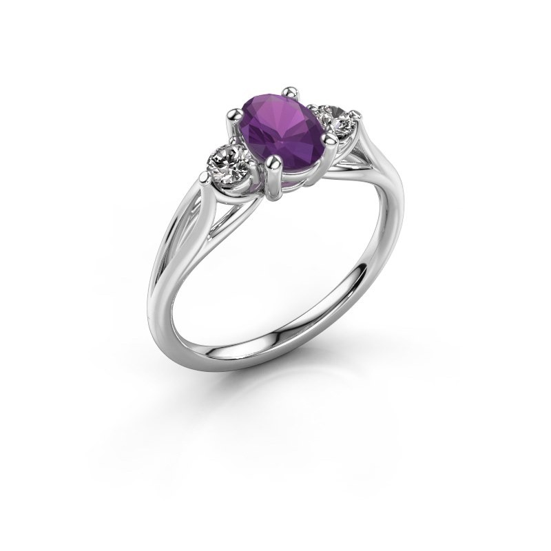 Fantasy Stylish Silver Engagement Ring Oval Amethyst Amie Ovl